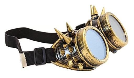 Spike Goggles Antique Brass Sunglasses Cosplay Aviator Steampunk Gothic Burning Man