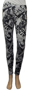 Star Wars Black Grey Women Junior Stretch Leggings Leia, R2D2, Hans Solo, Vader (X-Large)