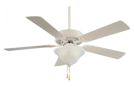 Shell White Contractor 5 Blade Energy Star 52In. Ceiling Fan With Blades And 2 Cfl Bulb Integrated Light Kit Included