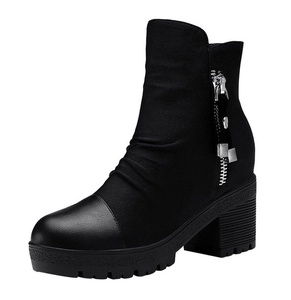 PerfectAZ Women Fashion Casual Round Toe Zipper Platform Chunky Mid Heel Short Boots(7 B(M) US, Black)