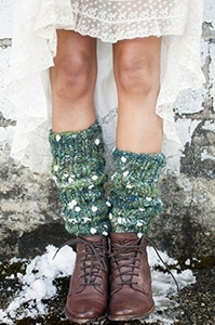 Knitting Kit: Chunky Floral Legwarmers from Knit Collage (13 Inches (No Stirrup), Grasshopper)