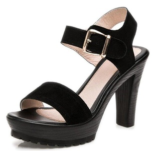 CHFSO Women's Trendy Solid Open Toe Buckle Ankle Strap High Chunky Heel Platform Sandals Black 4.5 B(M) US