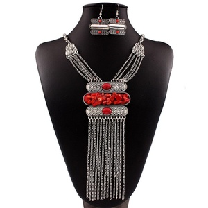 ARICO Parure Bijoux Femme Vintage Jewelry Sets Turquoise Earrings Long Tassel Necklace Set Boucle D'oreille Femme Pendante NE628