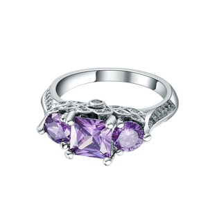 Sterling Silver Amethyst CZ Zircon Finger Ring Womens Party Wedding Bridal Jewelry US 6.7.8.9