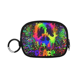 HomeWishes Peace Sign Polyester Fabric Cute Custom Coin Purse Money Clutch Bags