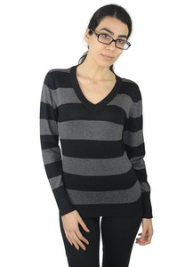 Alfa Global Women's Long Sleeve V-Neck Striped Ultra Soft Knit Sweater Top (S, Mustard-White)