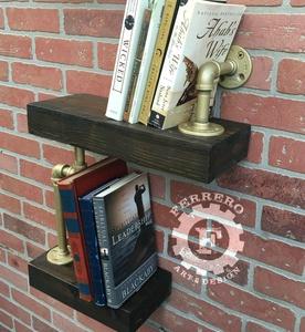 Wall Shelf, Steampunk Shelf, Industrial Shelf, Bookshelf, Pipe Shelf, Wood Shelf, Wall Decor, Steampunk Decor, Industrial Decor