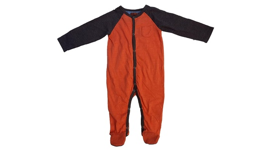 7 For All Mankind Baby Boy's Colorblock Footie (6-9 Months, Grey/Orange)