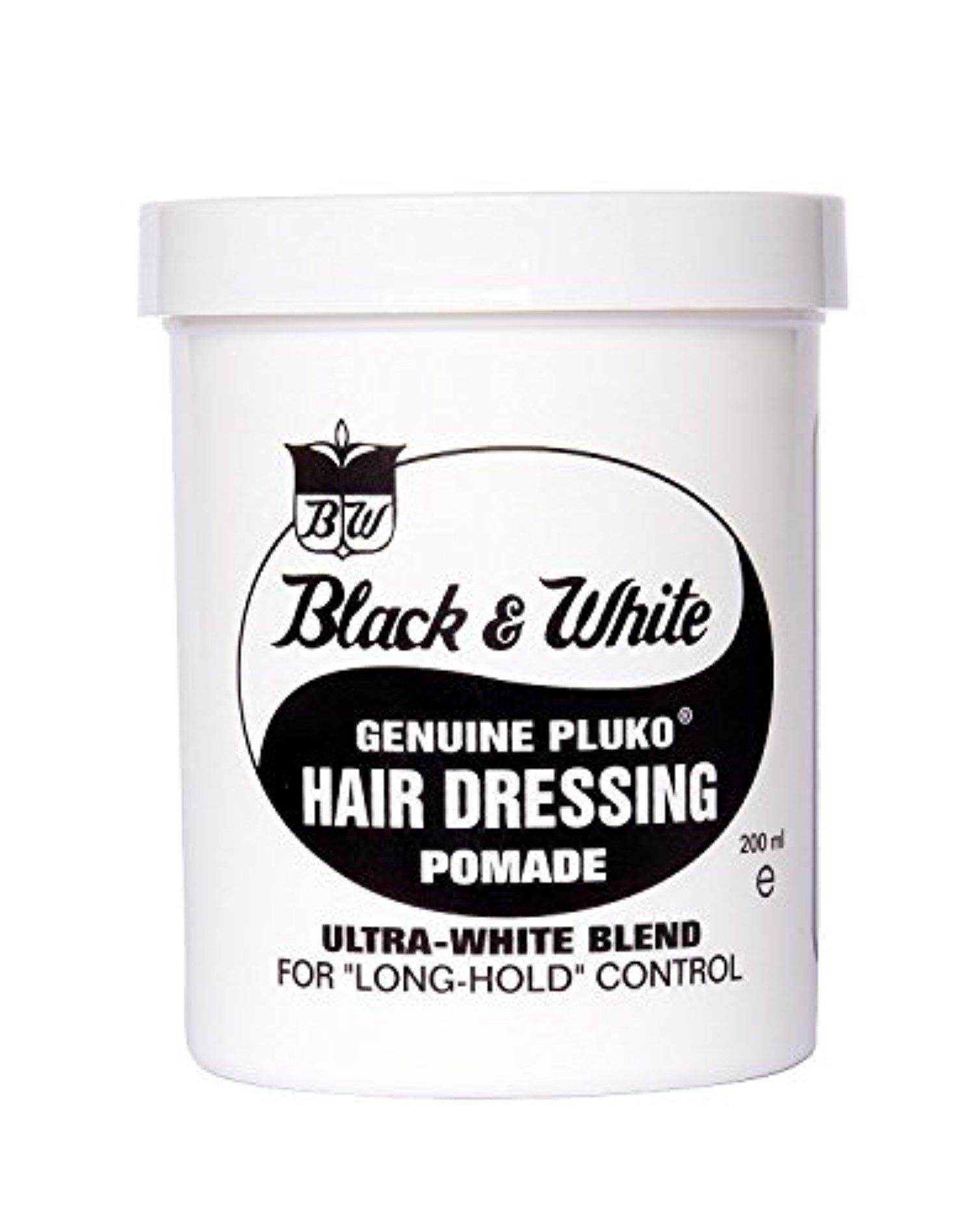 Black & White Genuine Pluko Hair Dressing Pomade Ultra White Blend 200Ml by Black & Sassy