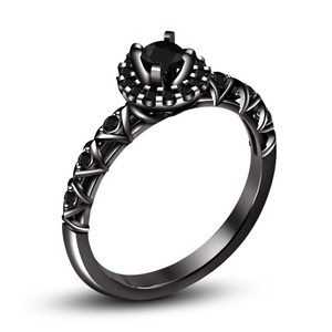TVS-JEWELS Black Rhodium Plated 925 Silver Round Cut CZ Solitaire With Accents Engagement Ring (5)