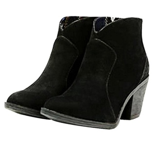 Blowfish Women's Schloss Round Toe Black Fawn Ankle Boot 10 M