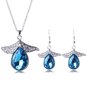 ARICO Pendant Necklace Set Earings Silver Plated Jewelry Set Big Crystal Jewelry Sets NE869