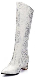Summerwhisper Women's Sexy Floral Print Pointed Toe Block Mid Heel Back Zipper Knee High Boots White 8 B(M) US