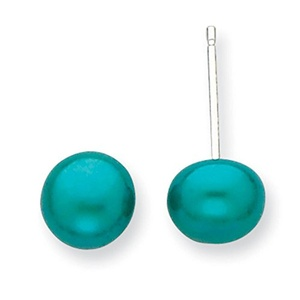 .925 Sterling Silver 6-7MM Freshwater Cultured Button Pearl Teal Earrings