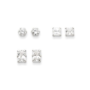 .925 Sterling Silver 6 MM 3 Pair Set CZ Post Stud Earring Set