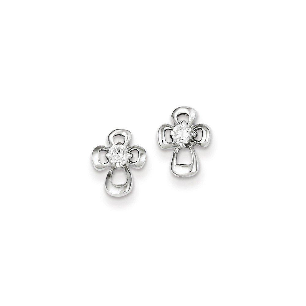 .925 Sterling Silver 10 MM Children's CZ Open Cross Post Stud Earrings