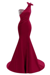 Bess Bridal Women's Beaded Mermaid Prom Gowns One Shoulder Long Evening Dress US26W Burgundy