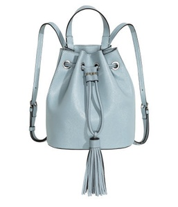 Light Turquoise Grained Imitation Leather Small Backpack