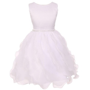 Chic Baby Little Girl White Dull Satin Soft Organza Special Occasion Dress 6