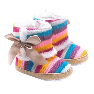 DEESEE(TM) Baby shoes Girls Rainbow Soft Sole Snow Boots Soft Crib Shoes Toddler Boots (0~6 Months)