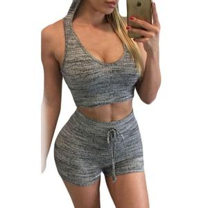 MAX Sonne Women's Fashion Sport Sleeveless Stretch Fitness Bra Shorts Suit Romper-(GREY,M)