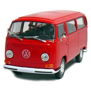 Welly 1972 Volkswagen T2 Bus 1/24 Scale Diecast Model Vehicle Red by Welly: 1/24 Scale