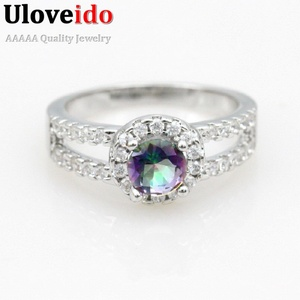 Slyq Jewelry Fashion Rainbow Crystal Engagement Ring Womens Silver Plated Ring White Bague Anel Feminino J510