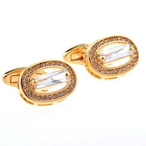 Novelty Cufflinks Gold Cuff Links White Crystal Cuff Link