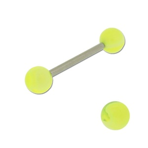 Acrylic Barbell Tongue Ring with Neon Yellow Marble Ball