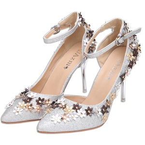 eshion Fashion Women Ladies Flower Glitter Strap Ankle Pointed Toe Stiletto High Heel Pumps For Wedding Party (US 7, S)