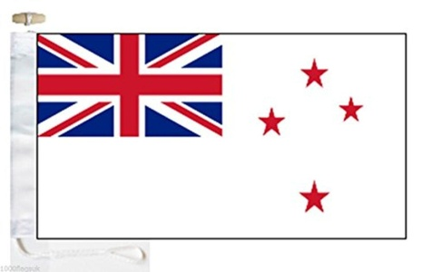 New Zealand Navy RNZN White Ensign Courtesy Boat Flag - Roped & Toggle - 5'x3' - 150cm x 90cm