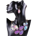 ARICO 18K Gold Plated Jewelry Jets Resin Necklace set Earrings Leave Purple Jewelry Set NB301