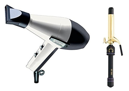 Elchim 2001 Hair Dryer Black/White with Free Hot Tools 1-1/4