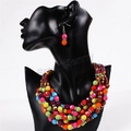 ARICO Acrylic Beads Jewelry Sets Gold Plated Chain Jewelry Set Statement Necklace and Earring NE179