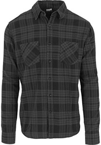 Urban Classics Men's Hemd Checked Flanell Shirt 2 - Long Sleeve Top - Multicoloured (Charcoal/Schwarz), X-Large (Manufacturer size: X-Large) by Urban Classics