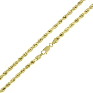 14k Yellow Gold 3.5mm Solid Rope Diamond Cut Chain Necklace 18