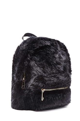 Faux Fur High-Polish Zip Mini Backpack