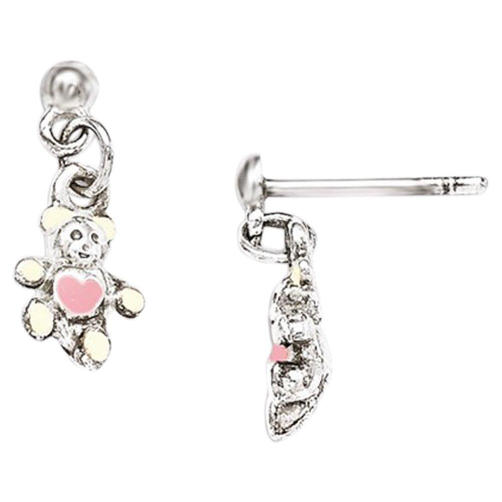 .925 Sterling Silver 16 MM Children's Cream and Pink Enamel Teddy Bear Post Stud Earrings