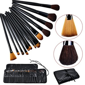 Celltronic 32pcs Pro Cosmetic Tool Makeup Brush Set Kit with Roll Up Black Bag Case
