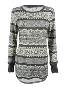 Eyeshadow Juniors' Lace-Print High-Low Tunic Sweater (M, Natural Charcoal)