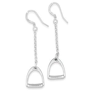 .925 Sterling Silver 56 MM Polished Horse Stirrup Dangle Shepherd Hook Earrings