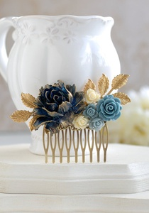 Vintage Bridal Navy Blue Ivory Rose Gold Leaf Hair Comb