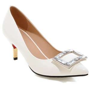 MINIVOG Women's Square Buckle Pointed Toe Patent High Pump Shoes White 8