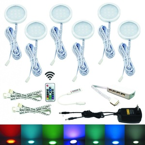 aiboo rgb color changing led under cabinet lights kit 6 packs of aluminum slim puck lamps ambiance under cabinet lighting