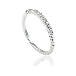 1.6mm Thin Half Eternity Stackable Wedding Engagement Band Ring Round Cubic Zirconia 925 Sterling Silver
