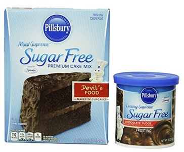 Pillsbury Moist Supreme Sugar Free Devil's Food Premium Cake Mix, 16 Oz. And Pillsbury Creamy Supreme Sugar Free Frosting Chocolate Fudge, 15 Oz by Pillsbury