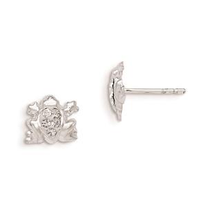 .925 Sterling Silver 9 MM Madi K Children's Stellux Crystal Frog Post Stud Earrings