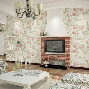 SBWYLT-Pastoral flock no large stamping fresh flowers woven wallpapers living room bedroom dining room background wallpaper , 10 meters *0.53 meters