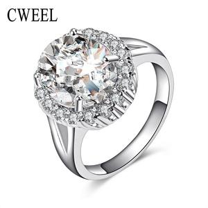 Slyq Jewelry Round Cubic Zirconia Ring Wedding Sliver Plated Crystal Jewelry Holiday Accessories Fashion