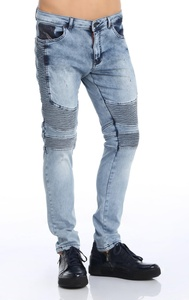 Ron Tomson Side Quilted Skinny Moto Jeans - Light Blue